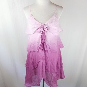 Cache Silk Blend Purple Ombre Tiered Ruffle Dress